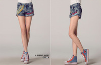 Женские джинсыSummer new cotton jeans original national wind hit the color embroidered jeans shorts female