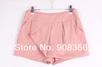 Женские шорты 2013 Hot Women Lady Cool Off-Center Cotton Pleated Skirt Shorts Fashion Beach Culotts Short Pants X0035