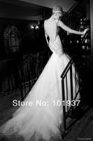 сексуальная великолепная милая Русалка спагетти ремень роскошь суд поезд тюль Свадебные платья с открытой спиной