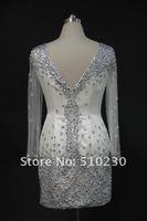Hot Sale Real Picture Sheath V-neck Full Beading Mini Long Sleeve Cocktail Dresses