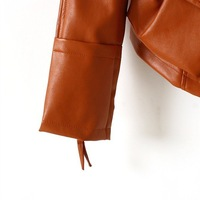 Free Shipping,2012 Autumn Hot Women's Leather Jacket,Fashion Leather Coat / Jacket For Women,Brown/Black,M/L.