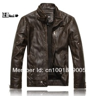 Free shipping Men motorcycle brand fashion sheep skin genuine leather leisure jacket coat shoulder board new 2013 fashion M-XXL