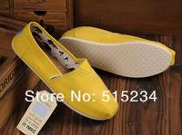 Женская обувь на плоской подошве Pure color yellow canvas shoes for women's shoes