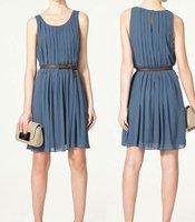 Женское платье Princess Kate Style Sleeveless Ruffled Blue Chiffon Dress