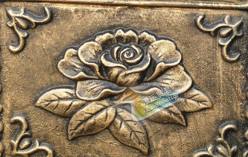 Cast iron flower mailbox embossed trim bronze decorative - Lettre decorative metal ...