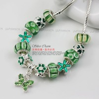 Цепочка с подвеской Fast Shipping European Style 925 Silver green beads butterfly charm necklace for women 925 silver jewelry wedding PA2047