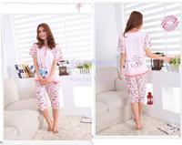 Женская пижама 2014 New Cotton Blend Women's Cute Cartoon Short Sleeve Lady's Pajamas Sleepwear Sleep Clothes Set Home wear 3sizes 13001