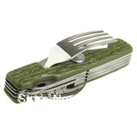 Outdoor Stainless Steel Multi-Function Tools (Spoons, Forks, Compass, Serrated Knife, LED Light)/Free shipping