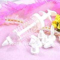 Формочки с узором для печенья set of Plastic Practical Cake Decorating Icing Piping Syringe Tool + 8 Nozzles