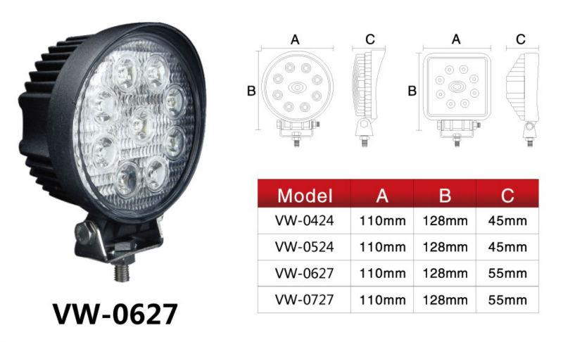 27W LED Vehicle Spot Light 4x4 Work Light Off Road Work Lights