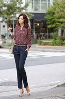 Женские блузки и Рубашки New Sell Fashion Women Chiffon Blouse Retro Totem Printed Sexy Slim Stand Collar Button Shirt Women Blouse Top MLS 2103