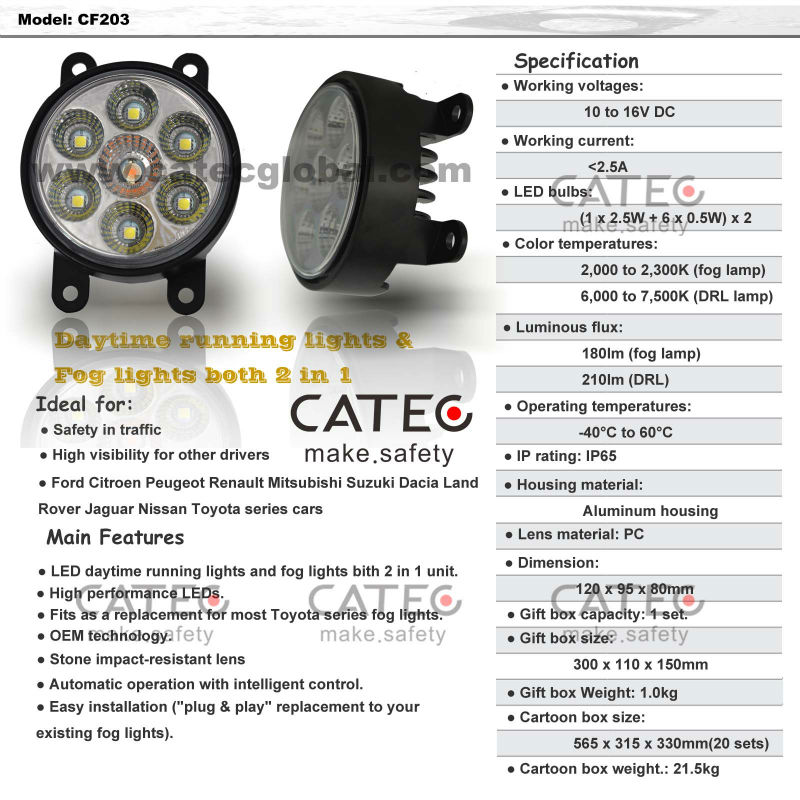 LED Fog Light for Ford Peugeot Renault Suzuki with DRL,perfect led lamp parts from china in car lighting manufactory
