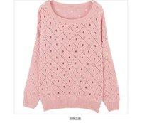 осенний наряд женские пуловеры Толстовки чистый цвет длинный рукав дырочку свитер пуловеры пальто розничная