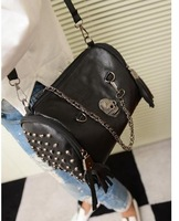 Детали и Аксессуары для сумок women's fashion Skull rivet tassel PU leather handbag shoulder bag