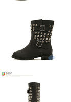 Женские ботинки Fashion punk style studded women motorcycle boots winter shoes woman ankle boots new 2014