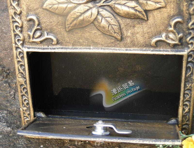 Wall Decor Mailbox : Cast iron flower mailbox embossed trim bronze decorative