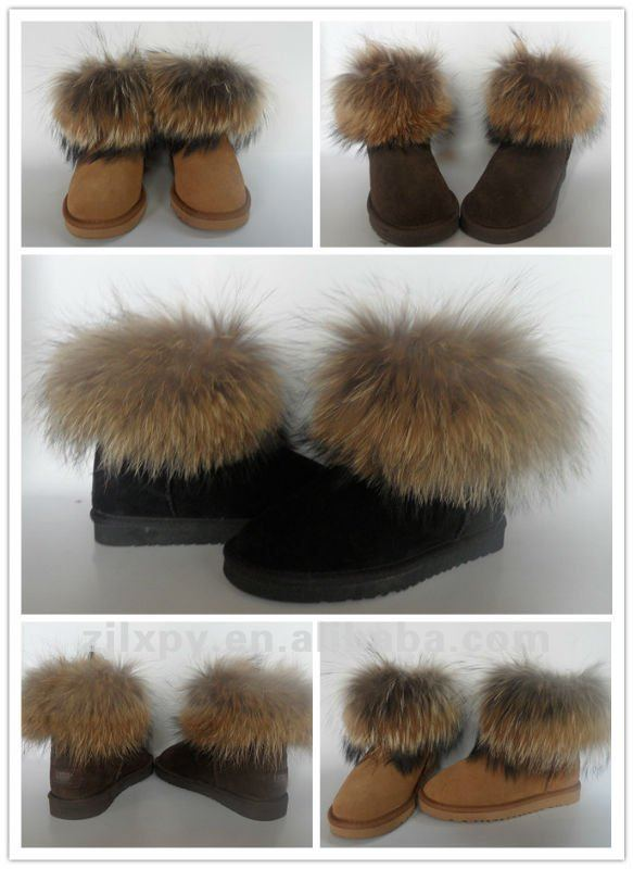 7031 - Fashion women 100% real raccoon dog fur boots for winter