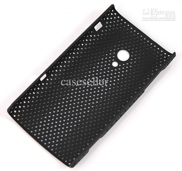 New Wine Red Mesh Net Back Cover Plastic Case For sony eircsson Xperia X10 mix order 400pcs/lot