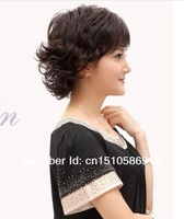 New Ladies fashion short hair wig fluffy dark brown curly hair