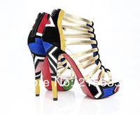Туфли на высоком каблуке With high women's shoes sandals colorful gold bar spell color contrast color flag bare boots