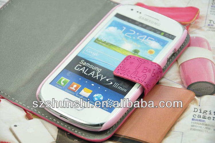 hot selling wallet case Samsung GALAXY S3 mini I8190
