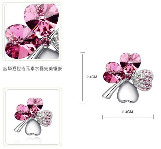 Fashion Czech Crystal Happiness Sweet Love Four Leaves Grass Alloy Brooch,Fashion Jewelry,High Quality,Free Shipping,Promotion!
