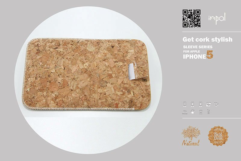 2013 new hot selling cork leather sleeve case for iphone 5