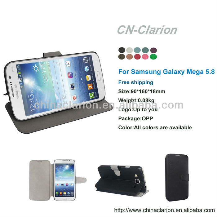 PU leather case for samsung galaxy mega 5.8 inch mobile phone case,wholesale
