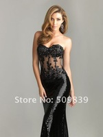 Платье на студенческий бал Sexy Sheath Strapless Black Sequined Lace Floor Length Prom Dresses 2013