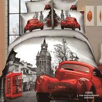 Постельные принадлежности red Car Brand logo print bedding set Cotton bedclothes pillowcase Duvet/Quilt cover bed sheet sets king queen double bed size