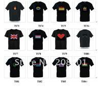 Мужская футболка HOT 1psc EL T-shirt flashing /equalizer t-shirt/ music flashing T Shirt, LED Music Creative toys Products TS74