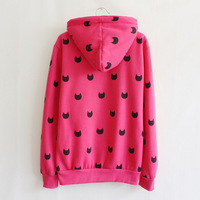 Женские толстовки и Кофты Amy]hot style black lovly cat printed zipper with hoody women's hoodies winter warm jacket mei red loose thick style