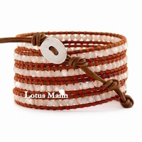 Ювелирное изделие 2013 CL Lotusmann White Mother of Pearl Wrap Bracelet on Natural Brown Leather