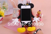 cut Mickey Minnie silicone back cover case for iphone 4 4S MOQ:1pcs