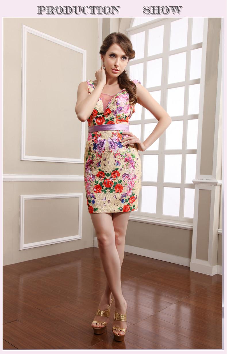 2014 Sexy Flowers Empire Short Prom Dress Shops