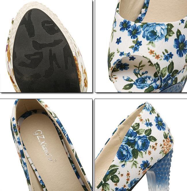 Туфли на высоком каблуке rhinestone Peep toe floral women platform pumps, high heels, summer shoes, her shoes sapatos femininos #15