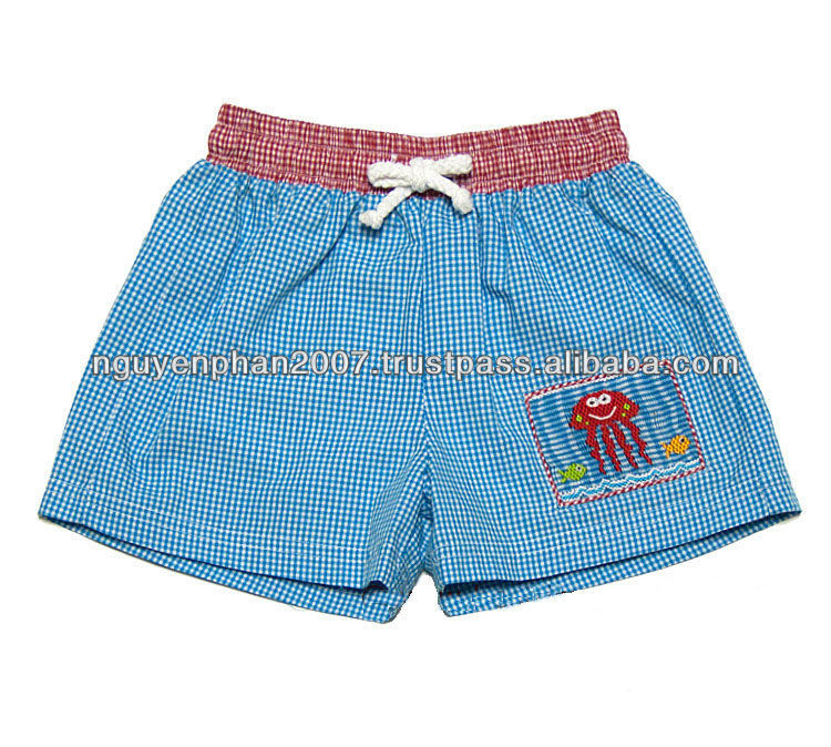 Boys Turquoise Gingham Smocked Jelly Fish Swim Trunks