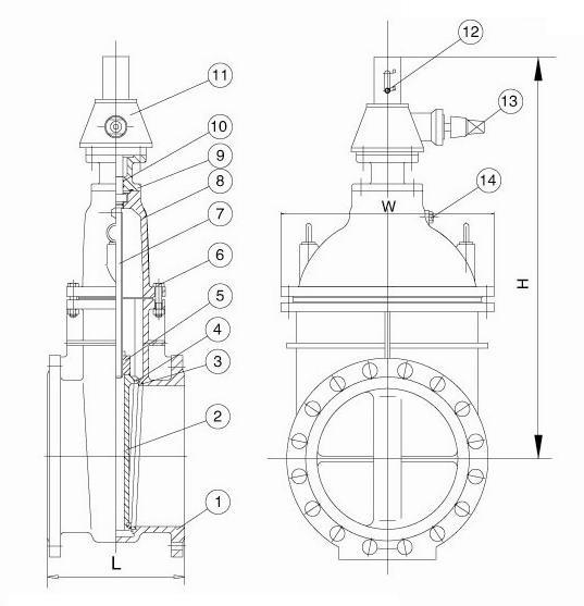 High Quality DN50-DN1600 metal seat Cast iron stem gate valve