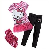 Комплект одежды для девочек New! 5sets! red /hello kitty Stripe children suit T-shirt + pants /Children's clothing, children's suit
