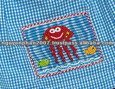 Boys Turquoise Gingham Smocked Jelly Fish Swim Trunks