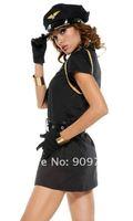 Wholesale 5pcs/set Sexy Black Police Women Costume,Officer Uniform Costumes