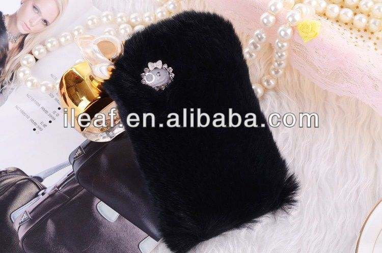 Luxuxy Real rex rabbit hair fur plush leather case For iPhone 5