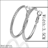 Christmas Gift 18KGP White Gold plated Fashion Hoop Earrings With Swarovski Elements Crystal Wholesale #LE020
