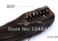 4шт женщины девушки светло каштановые волнистые волосы 50% реальные волос расширение хвост акулы клип в po40