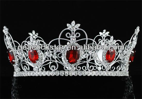 Atacado Pageant Full Circle Tiara simulado vermelho do rubi rei / rainha Crown CT1722