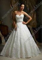 Plus size free shipping white lace wedding dresses with crystal Ball gown sweetheart bride dress