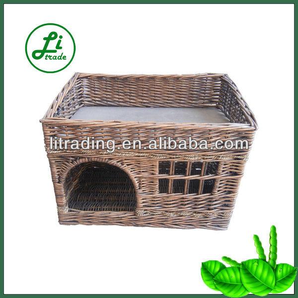 lovely double decker wicker dog house