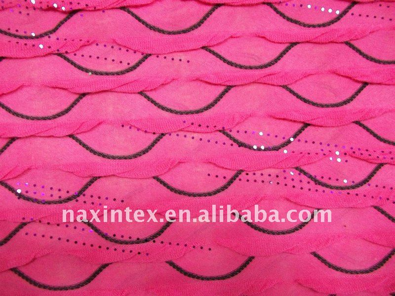 shiny on T/R tiedyed ruffle fabric,dy design cloths