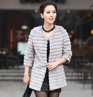 Fur Women Wholesale - Fashion black fur coat 3/4 sleeve long style 100% real rabbit fur jacket round neck