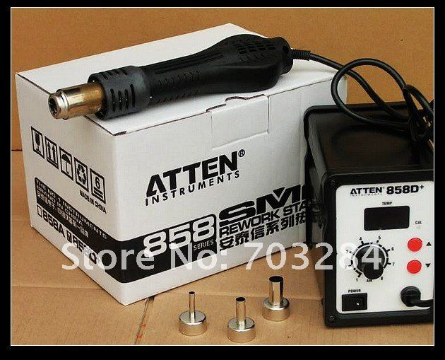 Free shipping ATTEN AT858D SMD Hot Air Rework Station Hot Blower Heat Gun 3 FREE nozzles